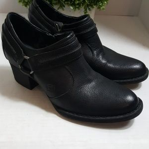 Born black heeled leather harness bootie comfort
